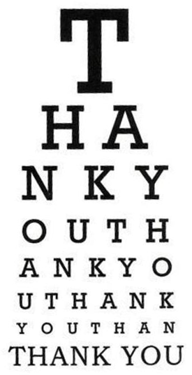 Thank you eye chart